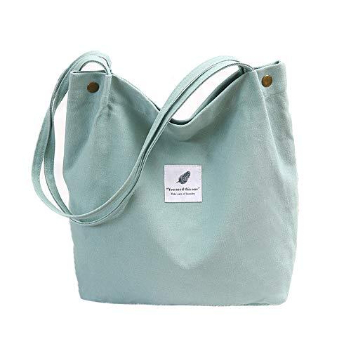 Canvas Tasche Damen Canvas Umhängetasche Shopper Casual Handtasche groß Chic Schulrucksack für Alltag Büro Schulausflug Einkauf, 38 x 32 x 11cm hellgrün - Casual Damen Tasche