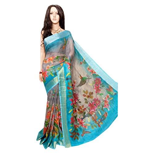 ETHNIC EMPORIUM Damen Handloom Digital gedruckte Leinen Hochzeit Formal Saree Rand mit Bluse Stück durch Bengal Weavers Indische Frauen 132 43481 Wie gezeigt (Kameez Gedruckt)