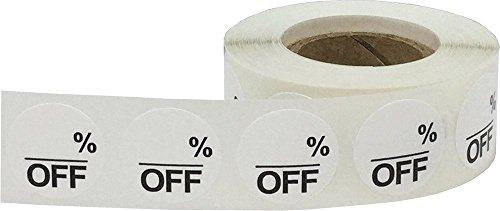 Blanco Vacio % de Descuento Circulo Punto Pegatinas, 19 mm 3/4 Pulgada Redondo, 500 Etiquetas en un Rollo