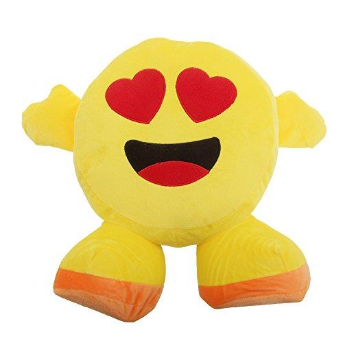 Smiley Emoji Design Plüsch-Kissen mit Armen und Füßen (Einheitsgröße) (Herz-Augen) (Herz Emoji Mit Augen)
