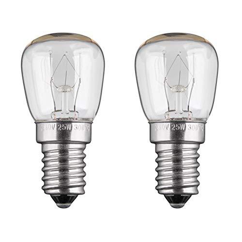 2x Backofenlampe | 25W | E14 | 230V | 2200 K | warm-weiß | Birne Lampe Glühbirne Glühlampe Leuchtmittel für Backofen Backofenglühbirne | warmweiß | 2 Stück -