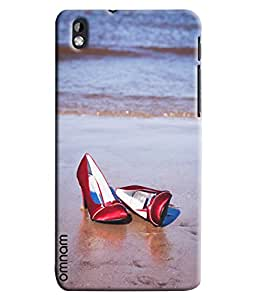 Omnam Red Belly Lying On Beach Effect Printed Designer Back Cover Case For HTC Desire 816