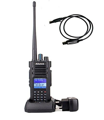 Ailunce HD1 Dualband DMR Digitales/Analoges Funkgerät DCDM TDMA mit Farb-LCD-Display 3000 Kanäle Walkie Talkie Kompatibel mit MOTOTRBO Wasserdicht mit Programmierkabel(Schwarz)