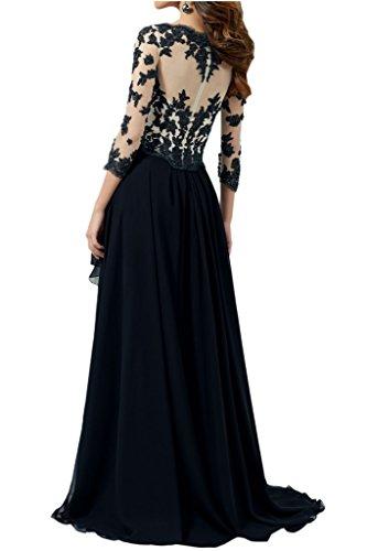 Victory Bridal Magnifique robe longue de bal/soirée/fête/mère de la mariée, à manches longues, avec dentelle, avec décolleté en V, en mousseline noir/blanc