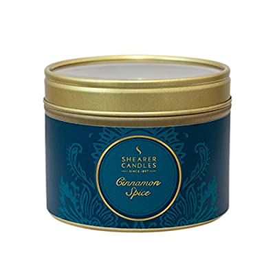 "Shearer Candles Small ""Cinnamon Spice"" Scented Tin Candle, Teal from Shearer Candles"