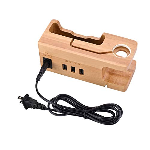 LWY USB Charging Stand, Bamboo und Wood Mobile Phone Watch Desktop Charging Stand, Charging-Station Base for Mobile Phone Headset, 3-Port Charger Stand Phone Desktop Charger Base