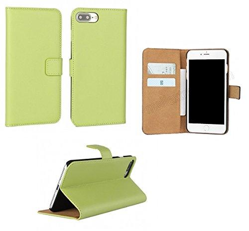 AMO® New différentes couleurs Portefeuille en cuir véritable étui livre avec support Coque pour iPhone 44G 5G 5C 66PLUS, Cuir, vert, 4G