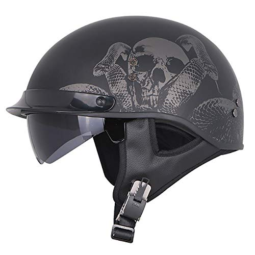 Motorradhelm Retro Half Face Motorrad Fiberglas Innenvisier Chopper Casco Casque Helme, Schwarz Skull-1, M