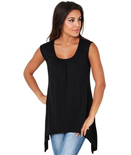 KRISP® Femmes Tunique Top Long Asymétrique Uni Classsique Noir (6255)