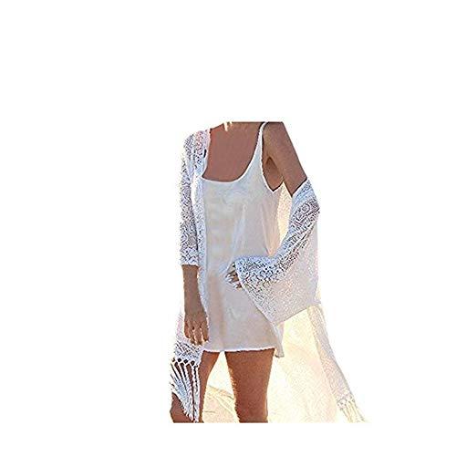 Staresen Damen sexy Strand Sonnencreme Chiffon Strandponcho Unregelmäßige Bikini Bluse Fledermausbluse Bedruckte Chiffon-Cardigan Bluse Damen Spitzenbluse mit Fransen - Scoop Neck Knit Kleid