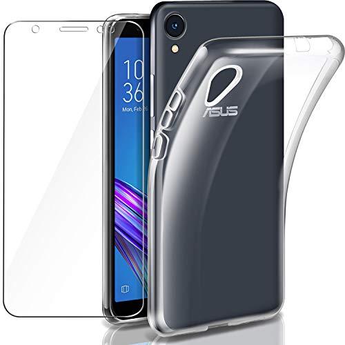 Cover ZenFone Live L1 ZA550KL Custodia + Pellicola Protettiva in Vetro Temperato, Leathlux Morbido Trasparente Silicone Custodie Protettivo TPU Gel Sottile Cover per Asus ZenFone Live L1 ZA550KL 5.5'