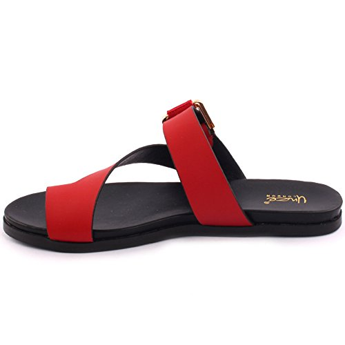 Unze New Women 'Hudson' Flat Toe Thong Sandales Buckled Summer Beach Party Get Together School Carnaval Casual Chaussons Pantoufles Grande-Bretagne Taille 3-8 Rouge