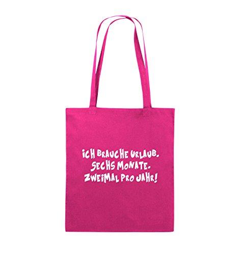 Borse Da Commedia - Ho Bisogno Di Una Vacanza - Sei Mesi - Borsa Di Juta - Manico Lungo - 38x42cm - Colore: Nero / Rosa Rosa / Bianco