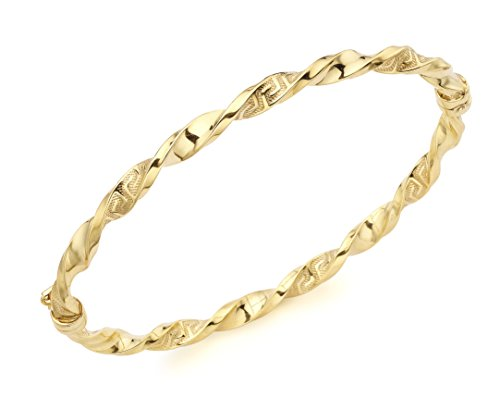 Carissima Gold 9 ct Yellow Gold Grecian Detail Twist Bangle