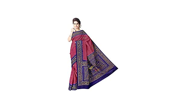ad21eae39f7bf Kala Sanskruti Bandhani Gaji Silk Saree For Women Traditional Designer  Latest Bandhej Design With Work. (KSA7XI-0001 Gajri And Blue)  Amazon.in   Clothing   ...