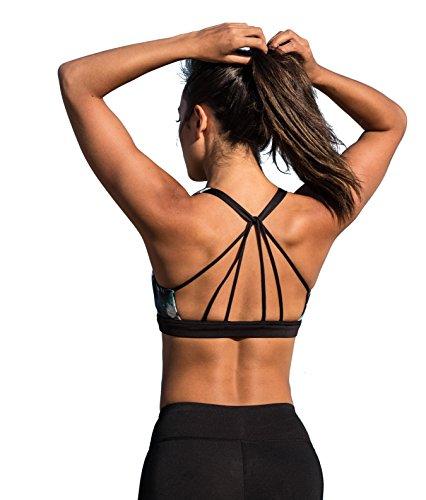 icyzone Yoga Sport-BH Damen Bustier mit Gepolstert - Atmungsaktiv Ohne Bügel Sports Bra Top (S, Lotus) - Extreme Push-up-sport-bh
