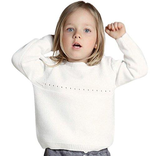 Sannysis Babykleidung Kleinkind Neugeborenes Mädchen Junge Langarm Cartoon Print Gestrickte Tops Outfits Kleidung 1-4Jahre (80, Weiß) (Trikot Gefüttert)