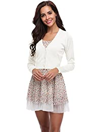 fb2b30a3c7a1e0 Abollria Damen Bolero Kurze Strickjacke Langarm Cardigan Elegante Jacke V  Ausschnitt mit Knopf