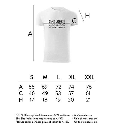 Herren Shirt Das Leben ist zu kurz um kleine hässliche Autos zu fahren schwarz & weiß Motiv - T-Shirt Poloshirt mit Motiv - Neu S - XXL Weiß