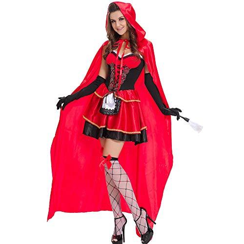 Red Mädchen Queen Kostüm - Belingeya-cl Damen Halloween Kostüm Dame Cloak Queen Red Hood Maxikleid Halloween Kostüm Adult Cosplay Spiel Uniform (Größe : XXL)