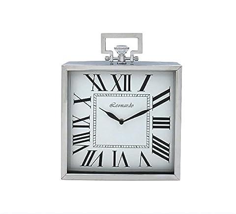 28 cm Square Silver Leonardo Mantle Clock With