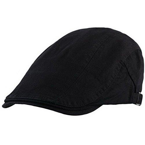 Ukerdo Coton Appartement Bérets Chapeau pour Homme Cabbie Duckbill Casquettes Accessories - Noir