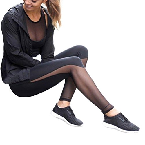 Vovotrade ☆☆Damen Ladies Tech Mesh Leggings Yoga Hose (Size:S, Schwarz) (Perfekt Calvin Klein Fit-push-up-bh)