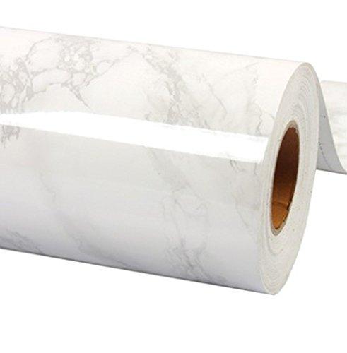 WDragon Film adhésif papier peint brillant pour plan de travail de cuisine, en vinyle imprimé marbre blanc gris, 61x 200,7cm