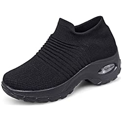 Zapatillas Deportivas de Mujer Gimnasio Zapatos Running Deportivos Fitness Correr Casual Ligero Comodos Respirable Negro Gris Morado 35-42 BK2 41