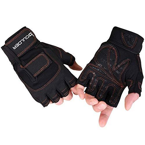 HJBH Halbfingerhandschuhe Fitness Mitten Kurzhantel-Ausrüstung Reck-Übung Handgelenk-Training Halbfinger-Fahrrad Anti-Rutsch-Sportausrüstung (Size : L)