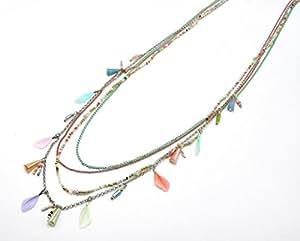 CL544 - Sautoir Collier Ethnique Multi-Chaînes Perles Rocaille et Plumes Multicolore - Mode Fantaisie