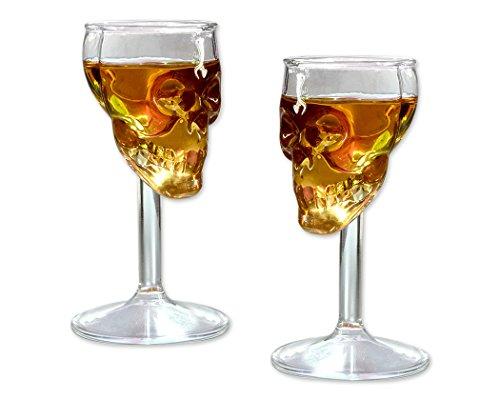 DSstyles Crème Verre à vin 2 pièces 75ml Crâne Verre Cristal Verre
