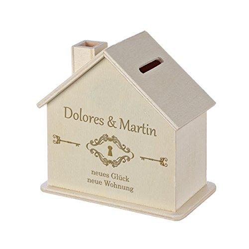 Spardose Haus mit Gravur - Sparbüchse aus Holz - Geschenk für jeden Anlass - Motiv neue Wohnung