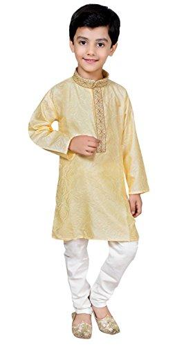 Desi Sarees Jungen Sherwani Kurta Pyjama Bollywood-Partei-Abendkleid 929 (1 Jahr, Hell Gold)