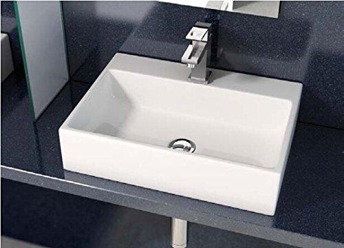 Art-of-Baan® - Hochwertiges Design Aufsatzwaschbecken Waschbecken 500 * 350 * 120 mm in reinweiß, keine Wandmontage (Leo)