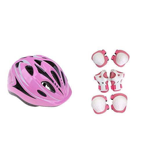 FLAMEER 1 Set Fahrradhelm Kinderhelm mit Knieschoner Ellenbogenschoner Handgelenkschoner für Kinder