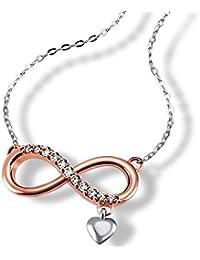 Goldmaid chaîne pour femme avec pendentif endless avec pendentif en forme de cœur pour femme en argent 925 sertie de zirconium-blanc - 45 cm fo c7418S