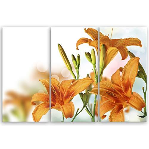 ge Bildet® hochwertiges Leinwandbild XXL - Orchidee - 120 x 80 cm mehrteilig (3 teilig)