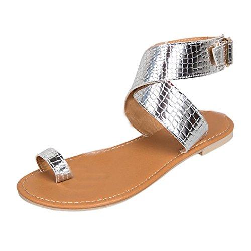 Btruely- Sandalen Damen Sommer Strandschuhe Rom Sandaletten Gladiator Leder Sandalen Frauen Flache Flip-Flops Elegant Schuhe B?hmen Sommerschuhe