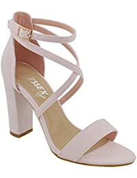 ba6dd8f6da ESSEX GLAM Womens Ankle Strap Block Heel Sandals Ladies Strappy Buckle Prom  Party Shoes Size 3