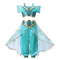 Piccolo Ragazze Blu lustrino Classico Principessa Vestire Costume Outfit;  Ottimo per il compleanno, Festa di Cosplay, Halloween, Natale e vestirsi collezione