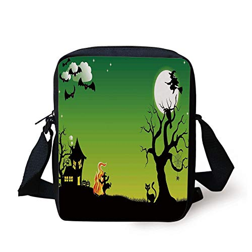 WITHY Halloween Decorations,Witch Dancing with Fire at Halloween Ancient Western Horror Image,Green Black Print Kids Crossbody Messenger Bag Purse