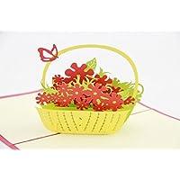 BC Worldwide Ltd Pop-up 3D pop-up pop-up a forma di fiore di papavero, farfalla, compleanno, festa della mamma, festa di Pasqua, festa in giardino, regalo di invito per lei