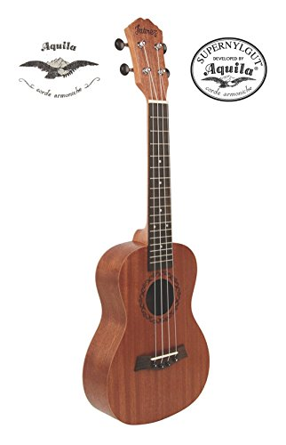 Juârez JRZ23UK/NA 23' Soprano Ukulele Kit, AQUILA Strings (Made in ITALY), Hawaiian Guitar, Concert Size, Sapele Body, Rosewood Fingerboard, Matte Finish, with Bag and Picks, Natural Brown