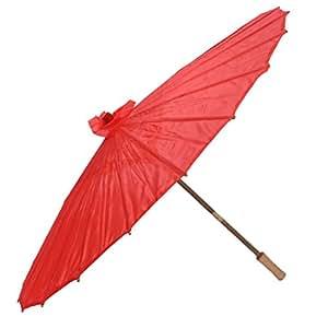 sourcingmap Japonais Asiatique Traditionnel Manuellement Bamboo Danse Parapluie Parasol Red