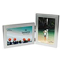 benerini Brushed Aluminium Satin Silver Colour Twin 2 Picture Double Folding Photo Frame Gift - Takes 2 Standard 6 x 4 inch photographs (1 Landscape and 1 Portrait Style)