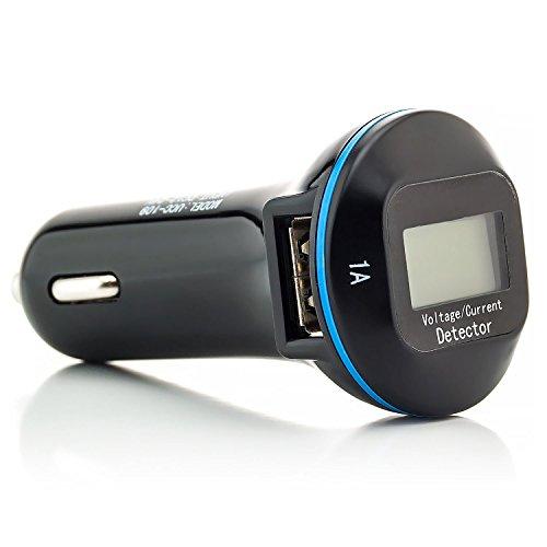 C9 One 4g Touch Alcatel Pop (Saxonia KFZ Ladegerät 2 fach USB-Port (USB 2.0) mit LCD Digitalanzeige Universal Auto Ladeadapter Zigarettenanzünder für Tablet Smartphone Navi Schwarz)