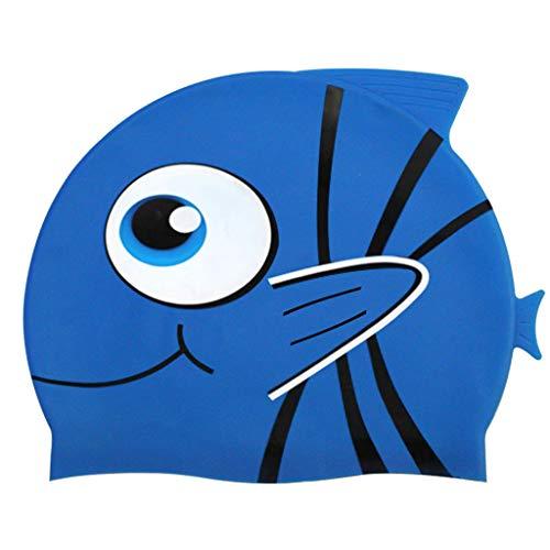 Cuffia piscina bambini topgrowth cuffie nuoto silicone cartone animato pesce cuffia da nuoto junior ragazzi ragazze elastica taglia unica (e)