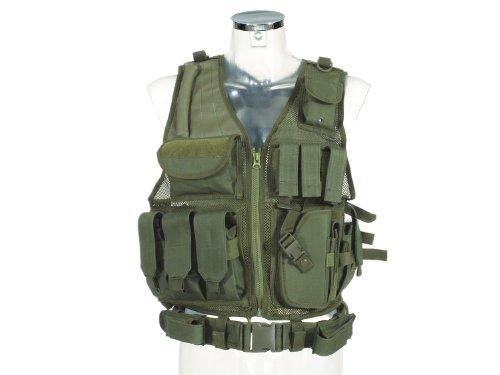 PHX Einsatzweste / Assault Weste, mit Holster, 4 Magazintaschen und 3 kleinen Taschen - olive