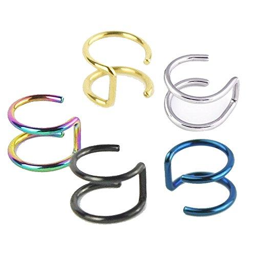 5PCS Piercing Women Girls Men 16G Stainless Steel Non-piercing Fake Lip Nose Ring Clip-on Cartilage Septum Earring Hoop by Novpeak (Ringe Lip 16 G)